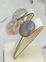 1960s Style Earrings Stud Vintage Retro Silver Colour Chrome Effect Large Round