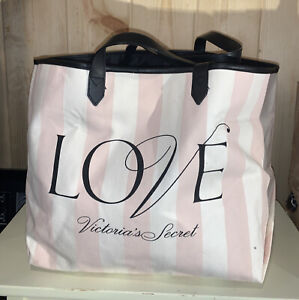 """Victoria's Secret """"LOVE"""" PINK STRIPED Tote Shopper Huge Handbag- NEW NWOT $48"""