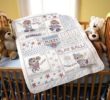 Cross Stitch Kit ~ Plaid-Bucilla Baseball Buddies Crib Cover / Quilt #45386