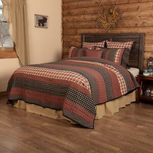 VHC Brands Rustic Twin Quilt Red Patchwork Beckham Cotton Striped Bedroom Decor