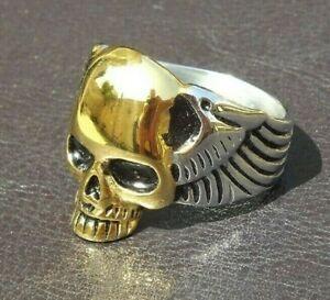 Stainless Steel Gold Skull With Wings Ring - 2 Tone Men Cast Biker Ring