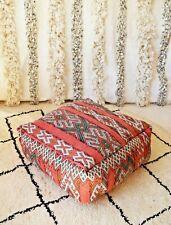 Moroccan Floor cushion Berber Red green pouf, Vintage kilim Pouf floor pillow