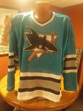 Vintage NHL New 1990's Air Knit Home Blue SAN JOSE SHARKS Jersey Large