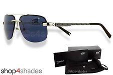 Montblanc Semi Rimless Aviator Sunglasses Shiny Palladium_Black_Blue MB 510S 16V
