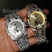 Luxury Men's Iced out Rapper's Lab Diamond Metal Band Dress Clubbing wrist Watch