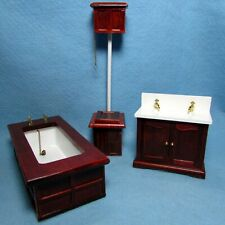 Dollhouse Miniature Victorian Top Flush Complete Bathroom Set in Mahogany D6407
