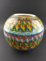 Vintage Vase Planter AVANOS TURKEY Hand Painted Signed Pottery Blue Red Green