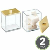2 Pack - Clear/Gold Modern Square Bathroom Vanity Countertop Storage Organizer