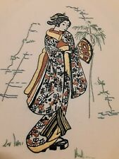 Final price  Vintage Hand Embroidered Picture Geisha Girl Japanese Wall hanging