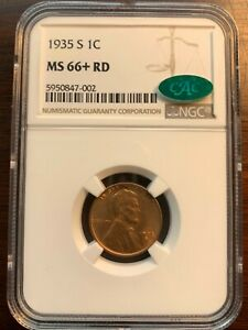 1935-S 1C RD Lincoln Cent NGC Gem Uncirculated MS66+RD CAC  Amazing Coin!