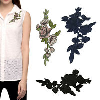 Applique Patch Rose Flower Leaves Embroidered Sewing Trim For Bag Jeans T-Shirts