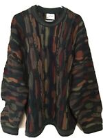 Rare Vintage Cuggi Coogi Wool Sweater Mens XL Biggie Dark Colors Australia