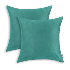 2Pcs Square Pillows Cushion Covers Shells Heavy Faux Suede Teal Decor 50 x 50cm