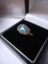 Vintage Bright Pale Blue Aquamarine & Diamonds 9ct Trilogy Cluster Ring Mint Co