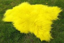 Real Premium Iceland Sheepskin Lambswool fur Topgegerbt Yellow 100-110cm