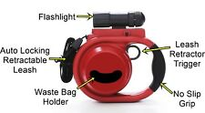 Pet Leash 16ft 40lbs Auto Lock, Retract Trigger, Waste Bag Holder