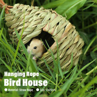 Mini Hanging Humming Bird House Hand Woven Straw Rope Pet Hamster Nes