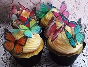 36 or 70  Assorted Edible Wafer Butterflies Cupcake Cake Toppers