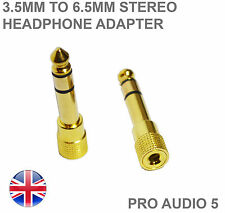 2x Gold 3.5mm to 6.5mm Stereo Headphone Adapter Plugs - High Quality - UK Post