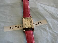 Premier Designs NANCY pink leather watch w/new battery RV $68 FREE ship