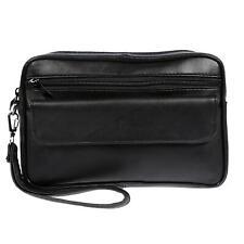 XL echt Leder Herren Handgelenktasche Herrentasche Tasche Smartphonefach Schwarz