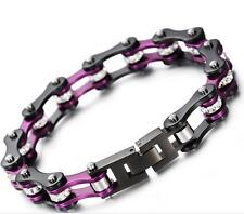 Women Purple Stainless Steel Crystals Motorcycle Chain Bangle Bracelet 8.66''