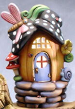 """Dragonfly Pumpkin Hollow Fairy House 8"""" x 6"""" Ceramic Bisque, Ready To paint"""