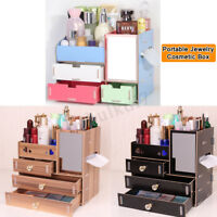 Portable Travel Jewelry Ornaments Box Beauty Makeup Cosmetic Case Mirror  ~ &