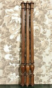 3 baluster groove wood turned column Antique french walnut architectural salvage