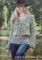 """Sirdar Knitting Pattern 8742 Cropped Cardigan Collared Jacket DK 32-42"""" Ladies"""