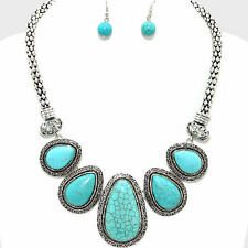 TURQUOISE HOWLITE WEAR ANYWHERE CHUNKY FASHION NECKLACE JEWELRY SET CHIC TRENDY