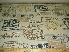 """~11 YDS~""""PASSAGES POSTAL STAMPS"""" LINEN UPHOLSTERY FABRIC FOR LESS~"""