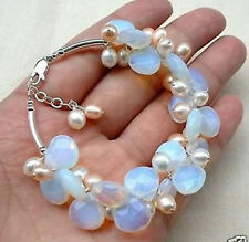 White Moonstone Natural Pink Akoya Pearl Charming Bracelet 8''