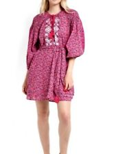 NEW Topshop size 4-8 dress Ditsy Smock Pink Boho Embroider Peasant Tunic floral