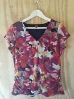 212 Collection Women's Blouse Top Short Sleeve V-Neck Multicolor. Size M