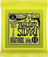 Ernie Ball Regular Slinky Electric Guitar Strings, 3 Pack (10 - 46).P/No:3221