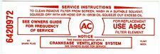 1965-66 PONTIAC 389/428 AIR CLEANER SERVICE INSTRUCTIONS  DECAL (RED)