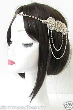 Silver Chain Headpiece Vintage 1920s Flapper Great Gatsby Headband Diamante R80
