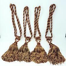 "Lot Of 4 Gold & Burgundy Tassel Rope Tieback Curtain Drapery Large 25"""
