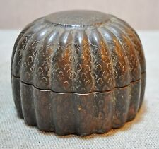 Original Old Antique Hand Crafted Fine Engraved Brass Melon Shaped Betel Nuts Bo