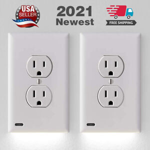 2 Guidelight Outlet Wall Plate With LED Night Lights - No Batteries Or Wires New
