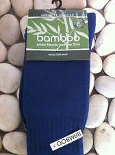 BAMBOO EXRTA THICK SOCK BLUE MENS 4-6  WOMENS 6-8 BAMBOO TEXTILES