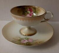 RS Prussia Floral Demitasse Miniature Cup & Saucer Set