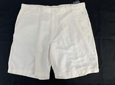 NWT Nautica Men's Size 42 Classic Fit White  Linen Blend Flat Front Shorts