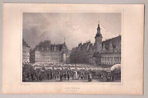 Leipzig, Sachsen - Marktplatz - Stich, Stahlstich Rohbock/Kurz um 1860