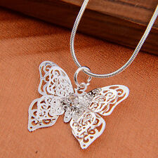 Hot Exquisite Fashion Lady Silver Plated Butterfly Necklace Pendant