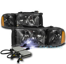99-01 DODGE RAM 1500 SPORT SMOKE HEADLIGHT W/CORNER TURN SIGNAL LAMP+10000K HID