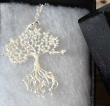 Tree of Life Pendant Chain Necklace 925 Sterling Silver Charm Minimalist 25X30mm