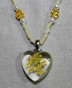 Heart Pressed Dried Flowers & Swarovski Crystal Necklace - Yellow & Pearl