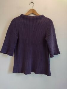 Toast Purple Chunky Knitted Jumper Size 10 Boxy Short Half Sleeve Top Cotton